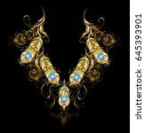 symmetrical ornament of gold...   Shutterstock .eps vector #645393901