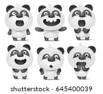 set of cute cartoon panda... | Shutterstock .eps vector #645400039