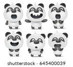 set of cute cartoon panda... | Shutterstock .eps vector #645400039