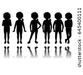 girl silhouette in different... | Shutterstock .eps vector #645400111