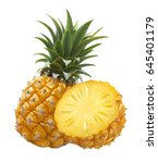 pineapple whole and half... | Shutterstock . vector #645401179