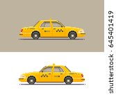 taxi car icon  side view for 8... | Shutterstock .eps vector #645401419