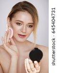 woman beauty face. closeup of... | Shutterstock . vector #645404731