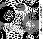 seamless brushpen doodle... | Shutterstock .eps vector #645407317