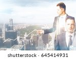 two handsome businessmen... | Shutterstock . vector #645414931