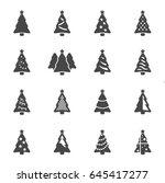 vector black christmas tree... | Shutterstock .eps vector #645417277