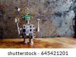 funny toy robot with spoon fork ... | Shutterstock . vector #645421201
