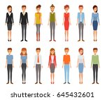 set of woman and man character. ... | Shutterstock .eps vector #645432601