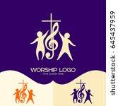 worship logo. cristian symbols. ... | Shutterstock .eps vector #645437959