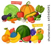 vector vegetables and fruits... | Shutterstock .eps vector #645440491