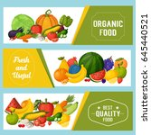 fruits and vegetables banners.... | Shutterstock .eps vector #645440521