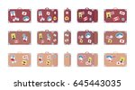 vintage brown suitcase set with ... | Shutterstock .eps vector #645443035