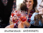 wine tasting event by happy... | Shutterstock . vector #645444691