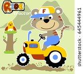 cute farmer ride a tractor ... | Shutterstock .eps vector #645444961