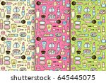 set of cute cosmetic patterns | Shutterstock .eps vector #645445075