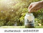 money saving  hand putting coin ... | Shutterstock . vector #645445939