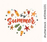 summer text with beach elements ... | Shutterstock .eps vector #645446101