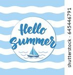 hello summer text with nautical ... | Shutterstock .eps vector #645446791