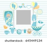 baby boy shower card. arrival... | Shutterstock . vector #645449134