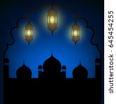 mosque and lanterns on blue... | Shutterstock . vector #645454255