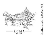 roma sketch. hand drawn... | Shutterstock .eps vector #645458794
