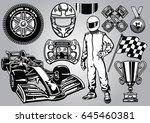 formula racing set black and... | Shutterstock .eps vector #645460381