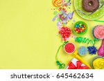 bright birthday decor on color... | Shutterstock . vector #645462634
