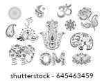 set of hand drawn ethnic...   Shutterstock .eps vector #645463459