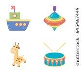 ship  yule  giraffe  drum.toys... | Shutterstock .eps vector #645467449