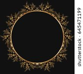 round gold lace border frame... | Shutterstock .eps vector #645471199