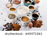 variety of coffee in ceramic...   Shutterstock . vector #645471361