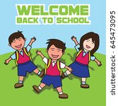 welcome back to school cartoon... | Shutterstock .eps vector #645473095