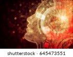 human robot with digital orange ... | Shutterstock . vector #645473551