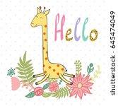 cute giraffe with flowers....   Shutterstock .eps vector #645474049
