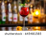 closeup glass of red wine ... | Shutterstock . vector #645481585
