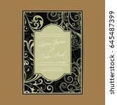 wedding vintage invitation card ... | Shutterstock .eps vector #645487399