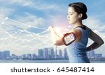 running woman with smart watch...   Shutterstock . vector #645487414