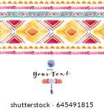 watercolor ethnic card. boho... | Shutterstock . vector #645491815