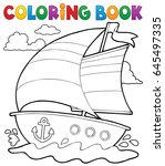 coloring book nautical boat 1   ... | Shutterstock .eps vector #645497335