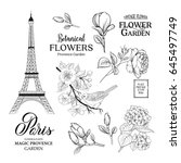 paris romantic collection.... | Shutterstock .eps vector #645497749