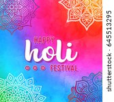 holi holiday design with... | Shutterstock .eps vector #645513295