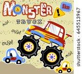 monster car in action  vector... | Shutterstock .eps vector #645513967