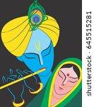 illustration of god radha  ... | Shutterstock .eps vector #645515281