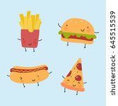 cool print with cartoon food.... | Shutterstock .eps vector #645515539