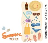 set of accessories for a beach...   Shutterstock .eps vector #645519775