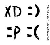 hand drawn set of emoticons... | Shutterstock .eps vector #645519787