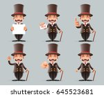 victorian gentleman business... | Shutterstock .eps vector #645523681