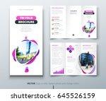 business tri fold brochure... | Shutterstock .eps vector #645526159