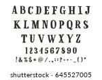 latin alphabet. font drawn on... | Shutterstock .eps vector #645527005