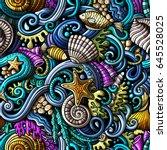 cartoon hand drawn doodles on... | Shutterstock .eps vector #645528025